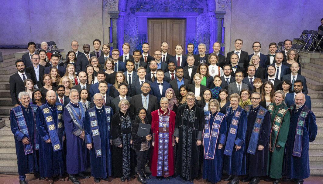 New doctorates from the Norwegian University of Science and Technology, NTNU, in November 2019. Around 40 per cent of those who do their PhD's in Norway are foreign citizens, many of them leave when they are done.