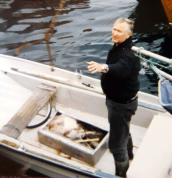 My father, Svein Alm, having been out at sea securing fish for the family ahead of winter, sometime in the 1980s.