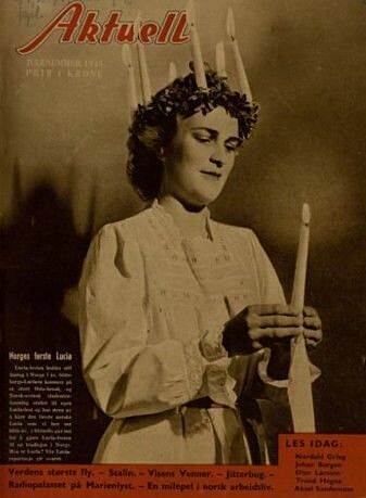 Norway's first Lucia on the cover of the weekly magazine Aktuell.