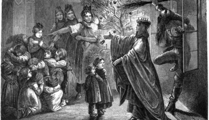 An illustration showing Christkind and her scary helper, Hans Trapp, coming for a Christmas visit.