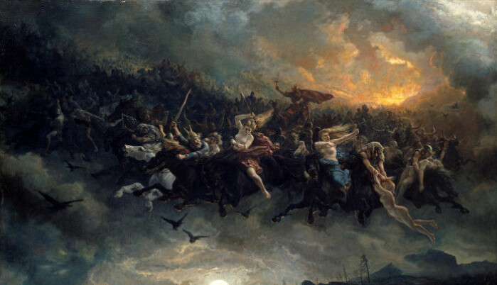 """Lussi's entourage shares many similarities with Åsgårdsreia, which has inspired many artists. <span class="""" italic"""" data-lab-italic_desktop=""""italic"""">Åsgårdsreia</span>, typically translated as """"the Wild Hunt"""" was a mob of ghosts and other supernatural creatures that flew through the air in wild pursuit at Christmas time."""