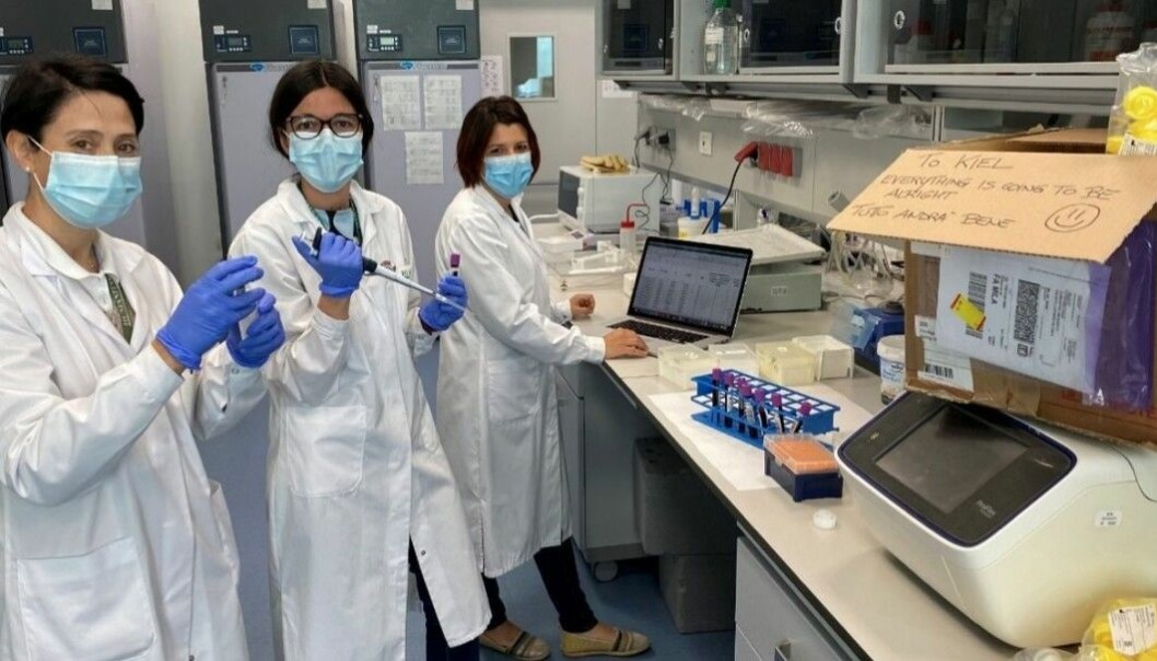 Here, health engineers in Milan are preparing to send boxes of samples for analysis to other engineers in Kiel. The Milano team greeted their German colleagues with the message