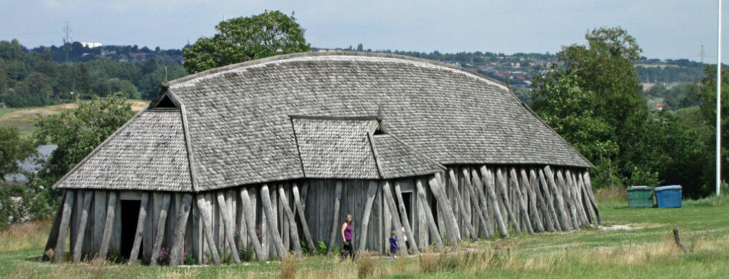 A reconstructed longhouse at the Viking castle Fyrkat in Denmark.