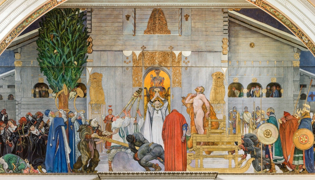 This painting by Carl Larsson portrays King Domalde, who allows himself to be sacrificed in the winter after a number of crop failures in Uppsala.