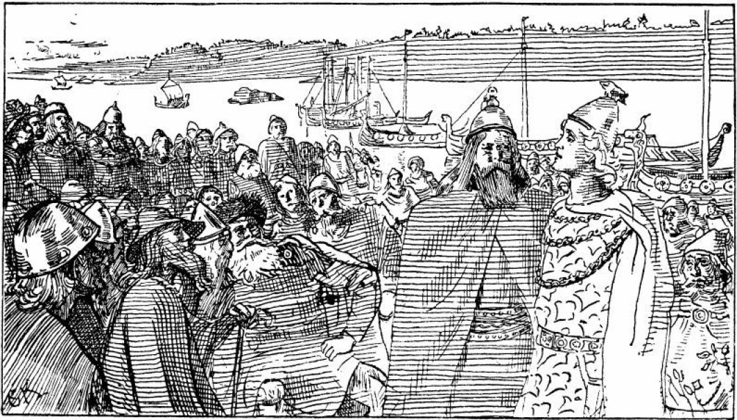 Aina Margrethe Heen Pettersen has studied the various roles and identities that emerged with the Viking raids in Ireland and England. The illustration 'Håkon taler på tinget til trønderne' (Hakon speaks to the people of Trondheim at the Thing') is a drawing by the Norwegian artist Christian Krogh made as an illustration for Saga of Hákon góði ('the Good') in the 1899 edition of Snorri's Heimskringla.