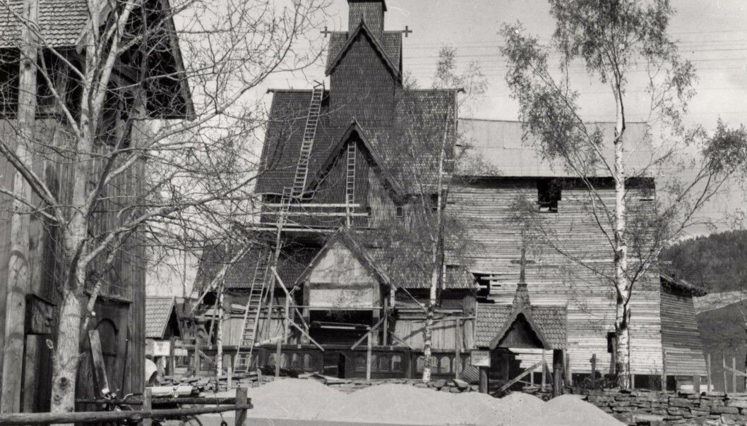 Heddal Stave Church during the restoration in the 1950s.