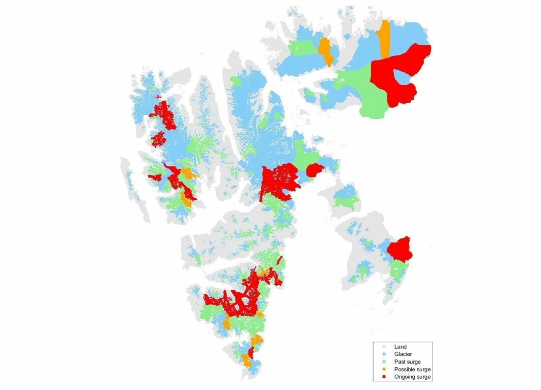 The red areas show Svalbard glaciers that are now undergoing a glacier phenomenon called a surge.