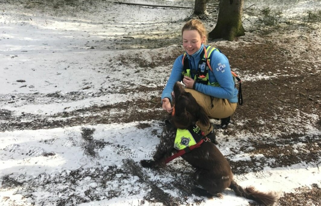 "Kristin Paaske Anfinsen works at NMBU, the Norwegian University of Life Sciences, and has been involved in searching for missing people with her hunting dog, Nemo, a small Münsterländer. ""It really made me want to do this more,"" she said."