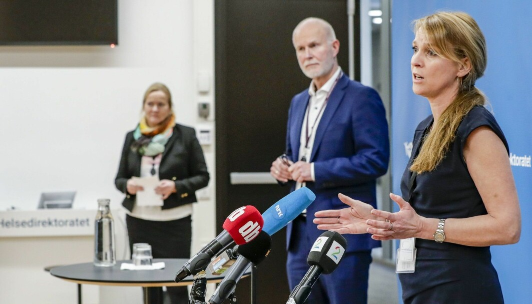 Department director Line Vold at the Norwegian Institute of Public Health and Bjørn Guldvog, Director General of Norwegian Directorate of Health, address the Norwegian public at a press conference, after an outbreak of the British mutation of the coronavirus was discovered in Nordre Follo municipality, outside of Oslo.
