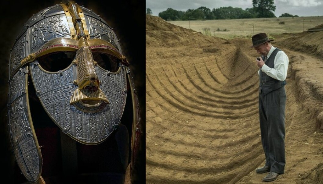 """A copy of the Sutton Hoo helmet and a scene from the Netflix film """"The Dig"""" with actor Ralph Fiennes in the main role as the local amateur archaeologist Basil Brown, during the 1939 excavation."""