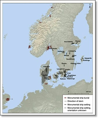 The map shows monumental tombs and stone formations shaped like ships. The length of the figures indicates the size of the monuments. The Jelling ship in Denmark is clearly the largest.