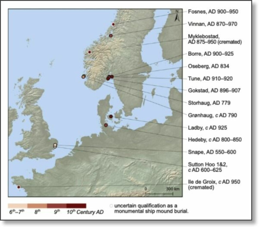 The map shows ships that are known to have been buried in monumental mounds. Most are in Norway. The newly discovered Gjellestad ship in Østfold is not on the map. There are probably more undiscovered ships.