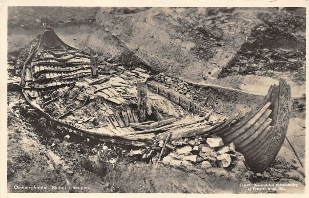 The Oseberg ship as it was found in 1904.