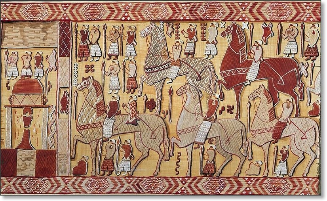 Fortunately, many treasures survived the looting of the Oseberg ship. Here is a woven tapestry that has been reconstructed.