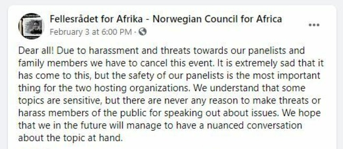 (Screen shot from Facebook-event by the Norwegian Council for Africa)