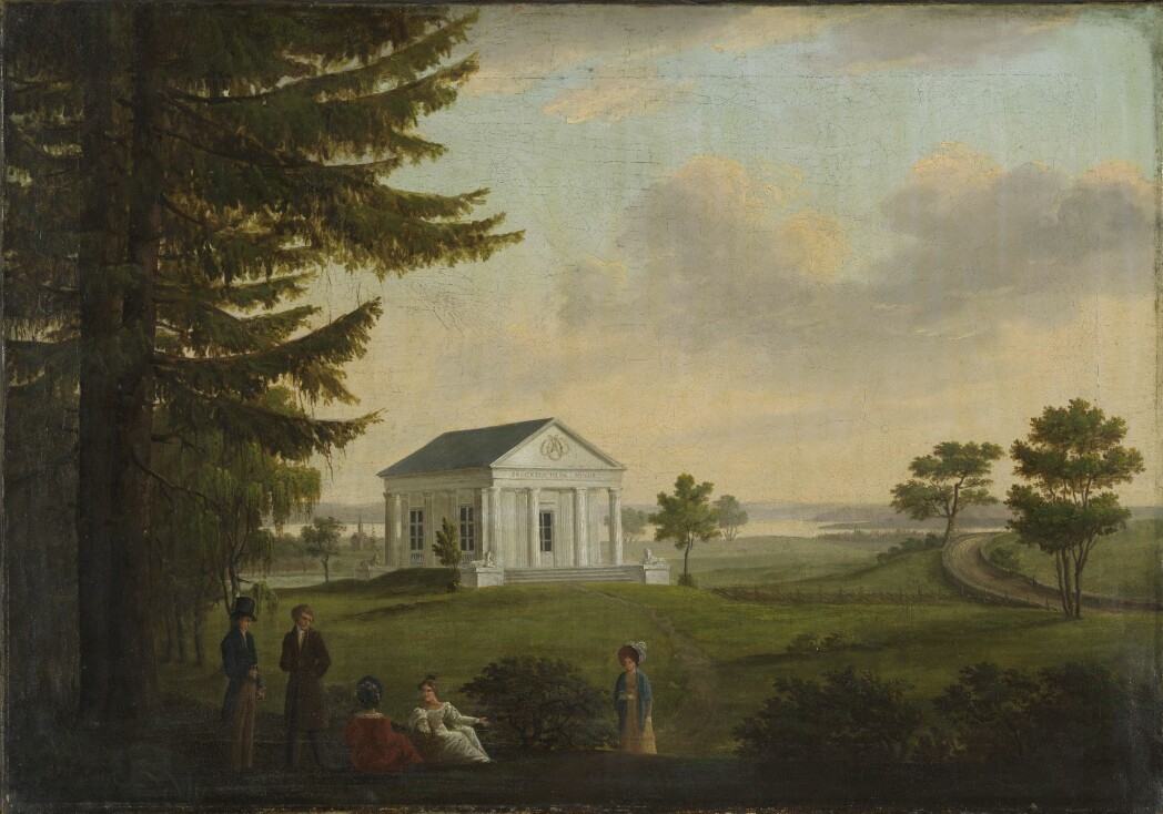 This painting by the Danish artist Carl Frederik Vogt shows one of the Ullevål temples and people attired in Empire dress. John Collett arranged pompous parties here, and the garden became an important part of Collett's large dinner parties.