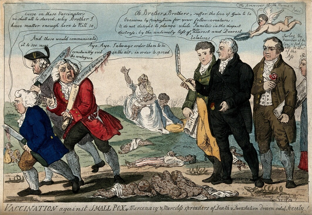 The father of immunology, Edward Jenner, and two colleagues chase away three vaccine opponents while children who have died of smallpox are scattered on the ground in this illustration from 1808.