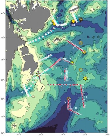 Figure 2: Observation area to be covered in the north-western Barents Sea during the winter process cruise. Different measuring stations are marked on the map.