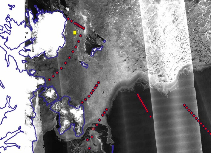 Satellite map of the ice. The ice station is marked with a yellow square. The other stations are marked with red dots.