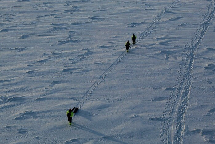 Sea ice and snow thickness transect.