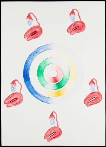 Artwork 'Menstrual Cycle' showing the stages and relationship between events during a female menstrual cycle. The central disk reads clockwise from the top, starting at day 1 of the cycle. The levels of each of the four main hormones are represented by the four coloured discs. Red = follicle stimulating hormone, green = oestrogen, yellow = lutinizing hormone and blue = progesterone.