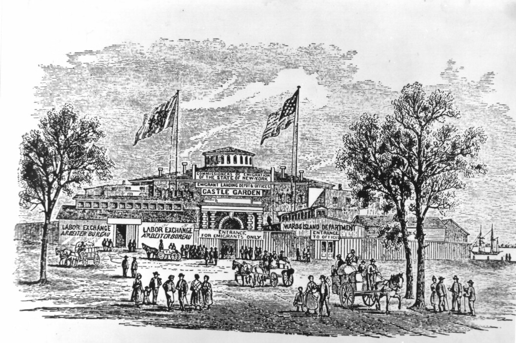 Castle Garden, now renamed Castle Clinton, was New York's first immigration station, located on the southern tip of Manhattan. The station opened in 1855. Castle Garden was closed down and replaced by Ellis Island in the late 1800s.