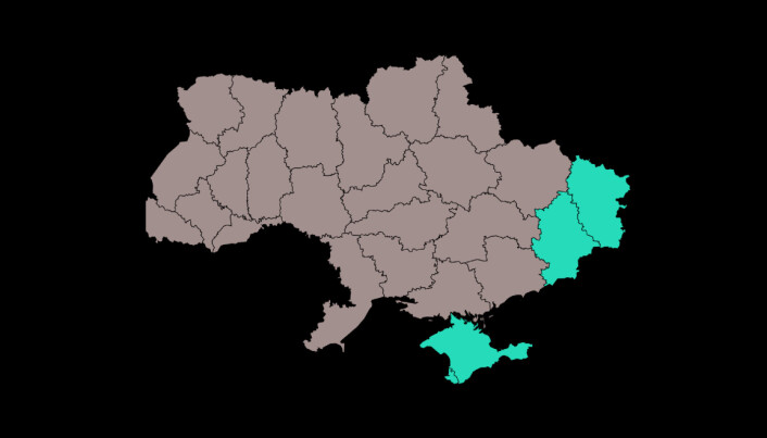 A map of Ukraine with the conflict areas highlighted in light blue. To the south you see the Crimean Peninsula, while to the east you can see Luhansk and Donetsk, which together make up the Donbass region.
