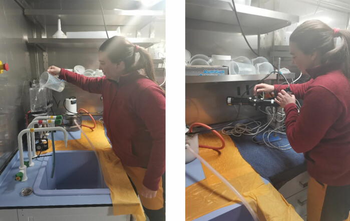 Natalie Summers filtering water for pigment analysis (on the left) and using the PhytoPam to measure photosynthetic parameters of phytoplankton (on the right).