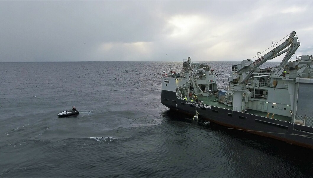 The USV being launched from the research vessel.