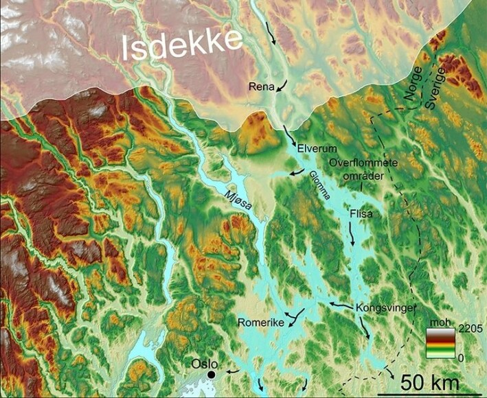 The Nedre Glomsjø lake was dammed behind a remaining arm of the great ice sheet. The water flowed out of the ice a little north of Elverum. The illustration shows which areas of Eastern Norway were submerged, and the arrows show the way the water flowed. What happened to the people who lived here?
