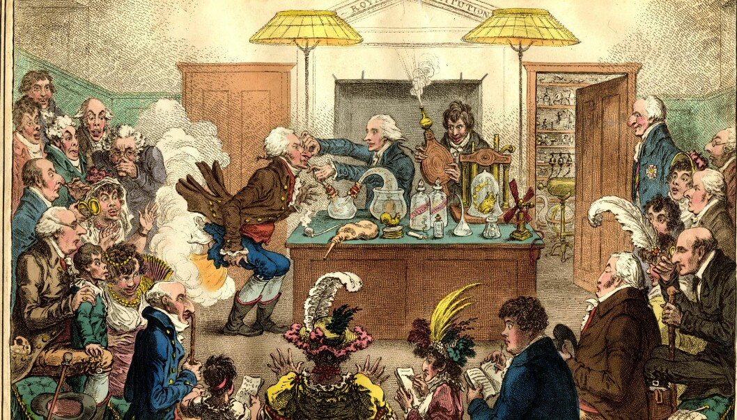 Charles Babbage criticised how science had been reduced to show and amusement, here at the Royal Institution in London. The assistant with the wood belllows is the chemist Humphry Davy, president of the Royal Society from 1820 to 1826.