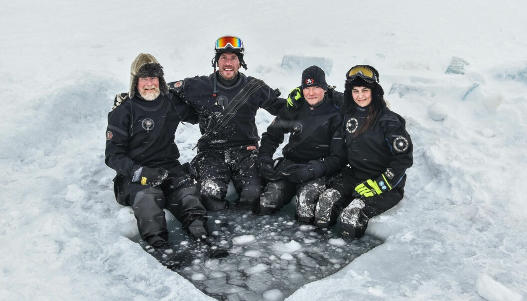 The dive team on the Nansen Legacy Q2/21 cruise came from the Norwegian Polar Institute and consisted of Haakon Hop, Peter Leopold, Mikko Vihtakari, and Amalia Keck seen from the left to right