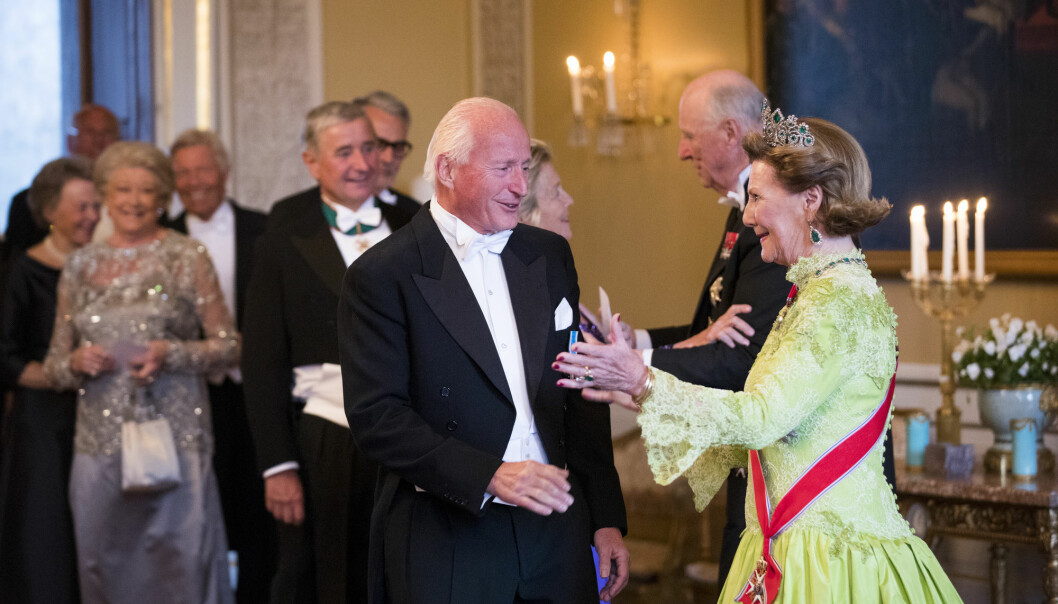 Christian Ringnes was the 48th richest man in Norway in 2020 according to financial magazine Kapital. Here he is being greeted by Queen Sonja at her 80th birthday party.