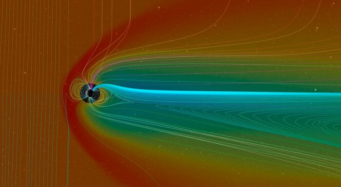 A model that shows the magnetic field around Earth (the circle in the middle), and how it bends from strong solar winds, which are represented by the red colour. The magnetic fields are represented by all the lines. The solar wind comes from the left.