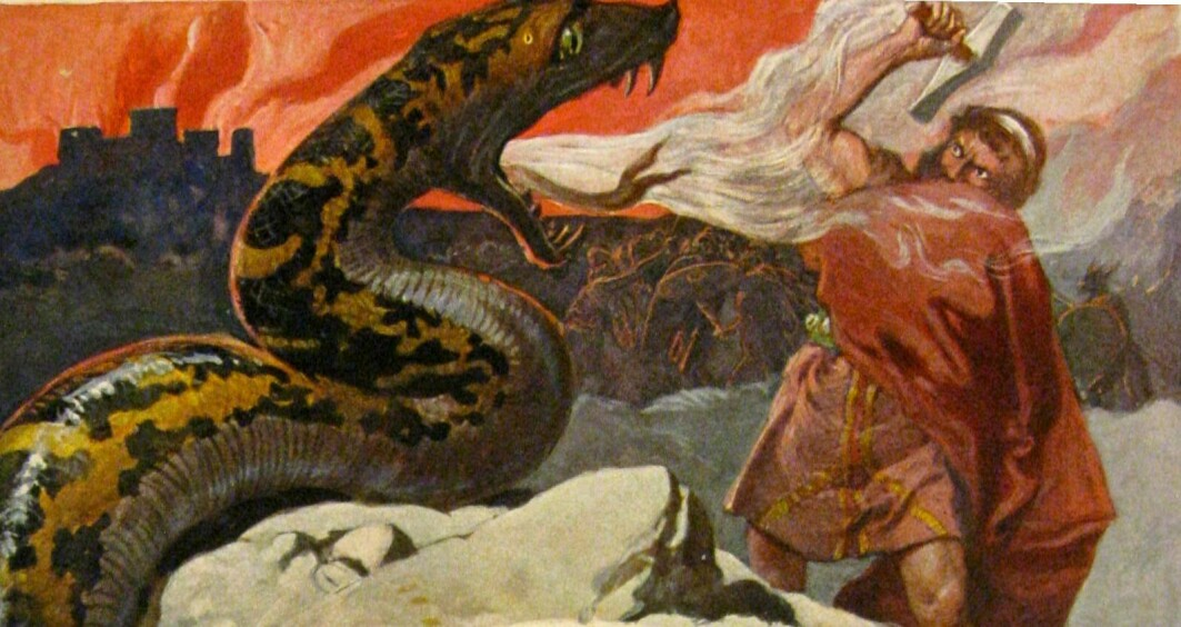 In Viking times, animals and humans were friends, helpers and enemies. One of the god Thor's greatest enemies was the Midgard serpent. When Ragnarok, the end of the world, arrives, they will kill each other, according to Norse mythology.
