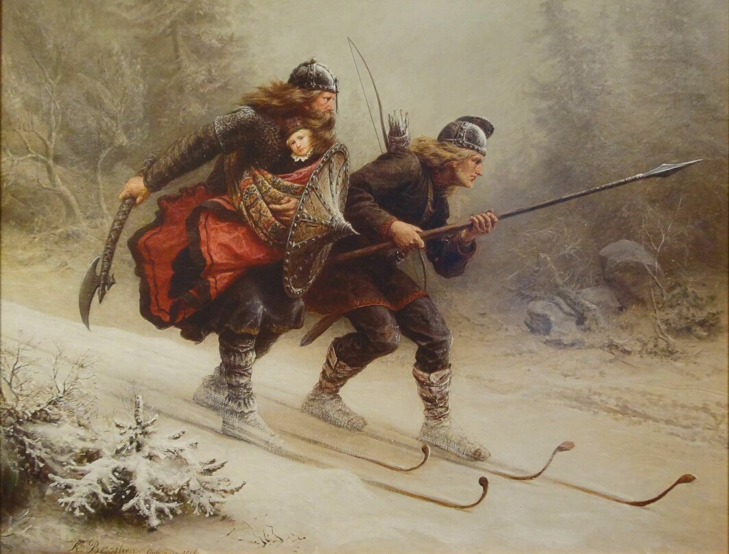 Birkebeiners Torstein Skevla and Skjervald Skrukka – here in Knud Bergslien's painting – are an early example of how the combination of skis and weapons has been important in Norwegian military history.