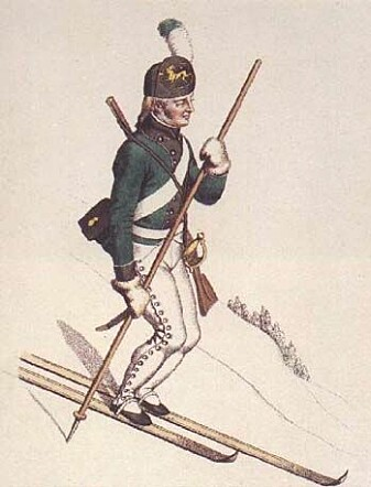 """This is what a ski-soldier might have looked like in 1811, as drawn by Johannes Senn. Three years later, the """"Eidsvoll men"""" – the Constituent Assembly – defeated a proposal to introduce skiing and shooting as part of Norwegian men's national upbringing."""