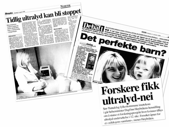 In the late 1990s, Minister of Health Dagfinn Høybråten (Krf) actively advocated stopping a research project that relied on early ultrasound. He feared it would lead to a society where more foetuses with Down's syndrome would be aborted.