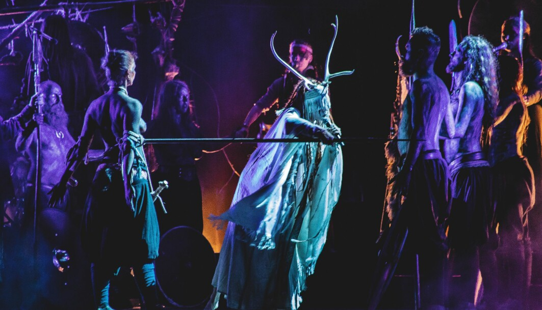 """Maria Franz from <span class="""" italic"""" data-lab-italic_desktop=""""italic"""">Heilung</span>, an experimental folk music band, performs at the Midgardsblot festival. Heilung is a german word meaning healing in English. The band states on its Youtube channel that """"Heilung is Amplified History from early medieval northern Europe and should not be mistaken for a modern political or religious statement of any kind."""""""