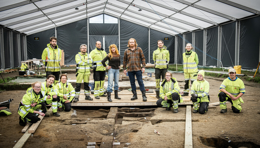 Game of Thrones meets Norwegian archaeological excavation of a real Viking ship. Team Gjellestad and the Hivjus, Gry Molvær Hivju and Kristofer Hivju, captured during a visit at the dig site last summer.