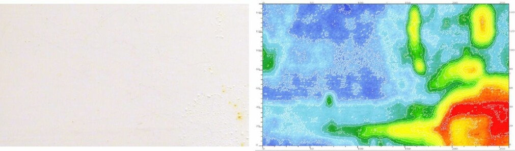 Left: A 250 x 150 mm2 steel panel covered with a white coating after two weeks in a tank with salt water. Water went through the coating and started to damage the steel. The corrosion damages are visible, as small blisters, in the lower right corner. Right: A true corrosion of the panel acquired with the FKP shows that the damage occurred on the panels in areas where no blisters are visible. Light and dark blue areas indicate intact steel while green to red show a steel attacked by the corrosion.