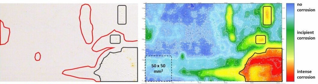 Fig. 3 A 250x150 mm2 steel plate undergoing corrosion under a protective coating. In this image, warm colours (yellow, red) indicate a more intense corrosion. Blue and light blue indicate pristine (non-corroding) steel. The contours show areas with visible corrosion signs (black) i.e. blisters and areas which appear intact although the FKP detects ongoing corrosion (red).