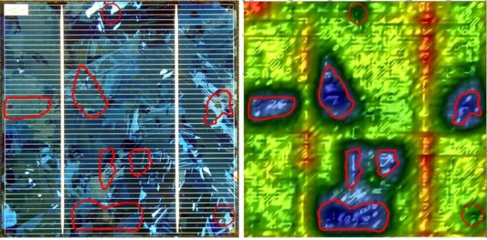 Fig. 4 Solar panels The visual and FKP image of this solar panel are not alike. The red contours show that an FKP reveals features which are relevant for quality assessment and maybe conversion efficiency of such cells.