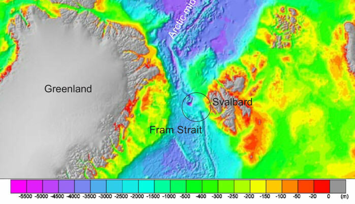 International Bathymetry Chart of the Arctic Ocean showing the study area.