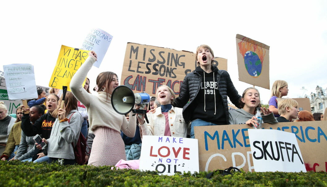 Young people have seen that rapid change is possible, in a recent survey 70 per cent of Norwegians between the ages 18-30 respond that they have increased faith that something can be done about climate change. The photo is from a school strike against climate change in 2019 in Oslo.