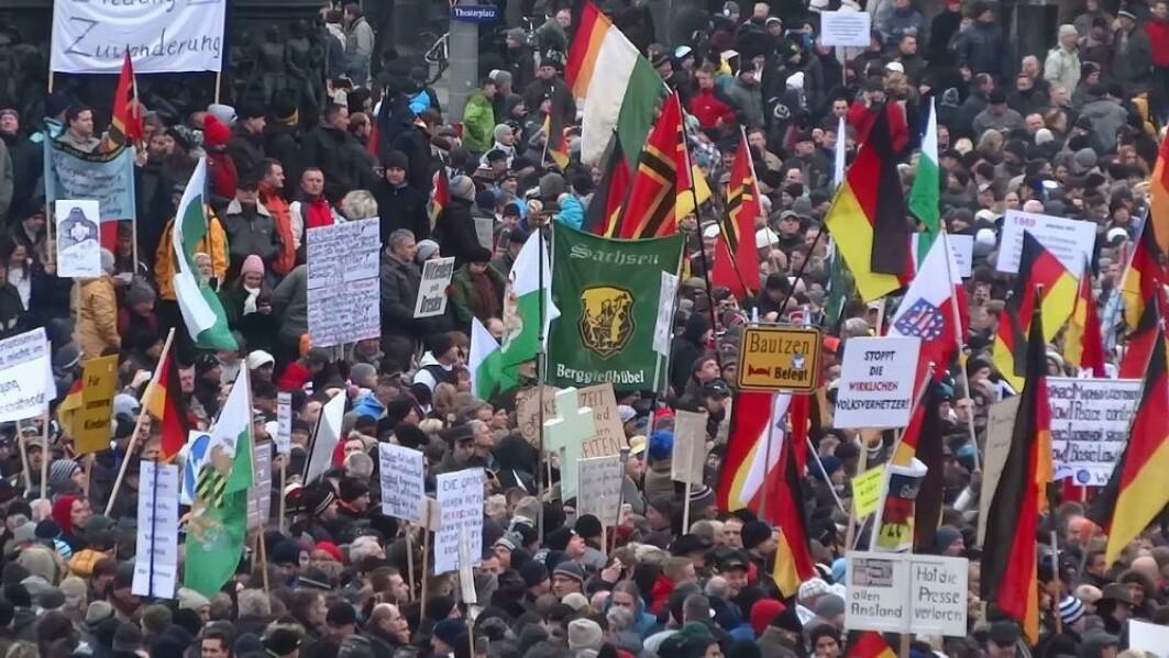 Pegida demonstration in Dresden, Germany, in 2015.