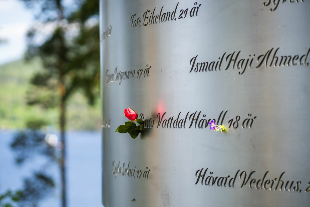"""""""They saw friends die. There is a reason why this attack differs from other traumatic events for the survivors,"""" says Grete Dyb, Head of Research at the Norwegian Centre for Violence and Traumatic Stress Studies (NKVTS). The picture shows the memorial in Lysningen engraved with the names of the 69 people who were killed in the terror attack on the Norwegian island of Utøya on 22 July 2011."""