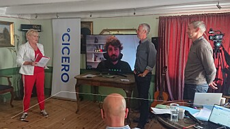 """Cicero director Kristin Halvorsen chaired the meeting """"Tolls - a necessary evil?"""" Tuesday 17 August at Arendalsuka. With her were the researchers Erik Böcker from the Institute of Transport Economics (TØI), Tarje Wanvik from NORCE in Bergen and Anders Tønnesen from CICERO."""