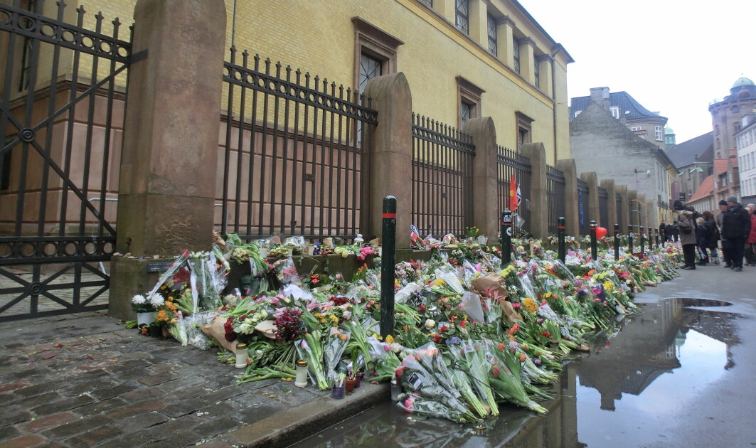 Flowers in front of the Great Synagogue in Copenhagen after a shooting in 2015.