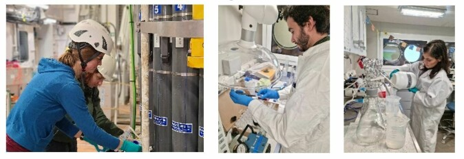 Scientists on board studying abundance, activity and elemental composition of microorganisms from seawater samples. If you want to become an observational marine microbiologist, get ready for some filtration fun.